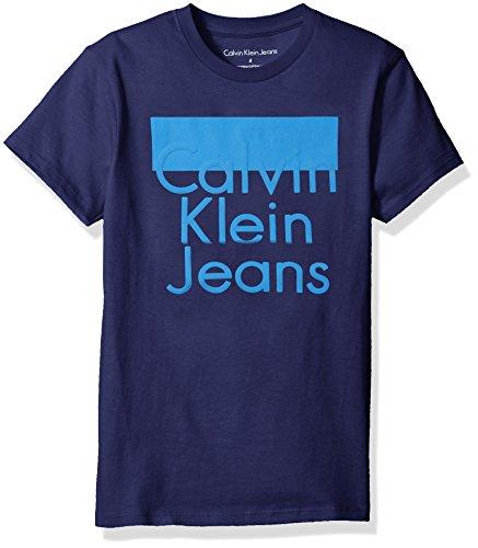 Price comparison product image Calvin Klein Big Boys' Pop up Logo Crew Neck Tee Shirt, Dark Blue, L14/16