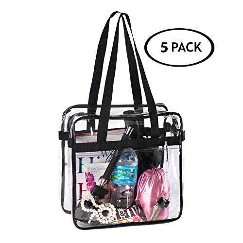 5 BAGS for LESS Clear Tote Stadium Approved with Handels And Zipper - 12x6x12