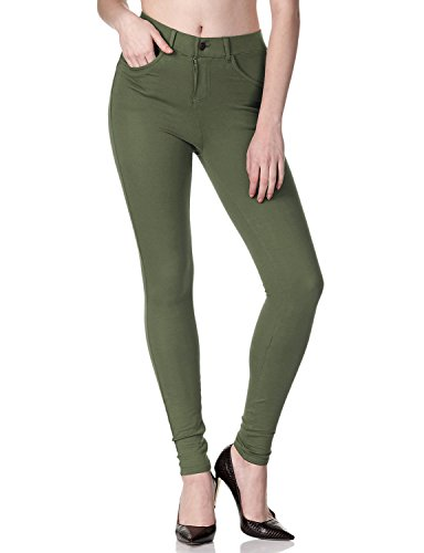 (Regna X with Pocket high Waist Skinny Stretch Junior Olive Jeggings for Women)