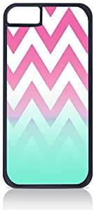 Pink Chevron with Blue Fusion Colorblock- Case for the Apple iphone 5C Only-Hard Black Plastic Outer Shell