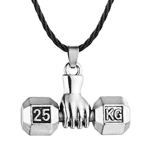 (Unisex Sterling Silver Plated Smooth Face Fitness Lift weights Barbell 25 KG Engraved Charm Pendant Necklace)