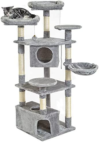 SUPERJARE Cat Tree Equipped with Spacious Perches Plush Condos, Multi-Level Kitten Activity Tower with Scratching Posts Basket Lounger – Gray