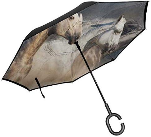 砂漠で走る馬 ユニセックス二重層防水ストレート傘車逆折りたたみ傘C形ハンドル付き