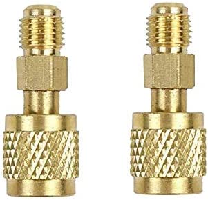 3pcs R410a Adapter Charging Vacuum Port Adapter Brass Converter with Thimble 5//16 Inch SAE Female Quick Couplers to 1//4 Inch SAE Male Flare for Mini Split System HVAC and Refriger Air Conditioners