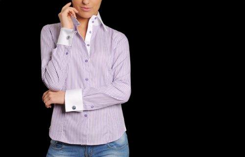 8265f030b6a Chemisier Femme Blanc Rayure Violette Poignets Mousquetaires Financier