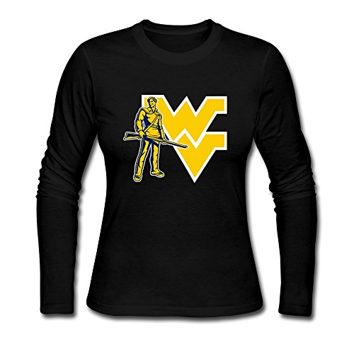 Girl Holidays Brand NCAA West Virginia Mountaineers Long Sleeve T-Shirt Black US Size S