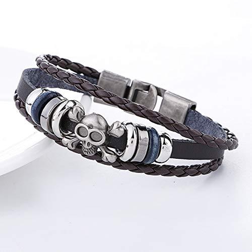 Necklace for Men New Fashion Skull Signs Leather Bracelet Men Women Pulseira Masculina Bileklik Femme Pulseiras Homme Charm Armband