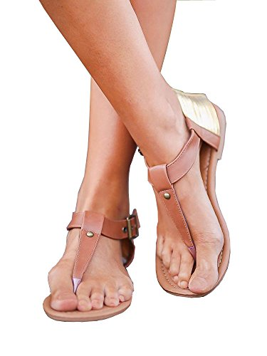 ZuQing Womens Ankle Buckle Strap Thong Gladiator Sandals Casual Summer PU Leather Casual Sandals Cover up Flats Sandal B072R74FT8 Parent 40de43