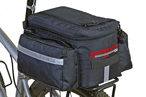 Bushwhacker® Mesa Trunk Bag Black - w/ Rear Light Clip Attachment & Reflective Trim - Bicycle Trunk Bag Cycling Rack Pack Bike Rear Bag (Bike Cooler Basket)