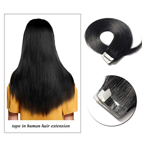 (S-noilite Rooted Tape in Human Hair Extension Glue in Remy Human Hair Piece Seamless Skin Weft Invisible Double Sided Tape Full Head Straight 20 Pcs 30 Gram 18Inch #1B Natural Black)