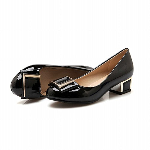 Latasa Womens Fashion Synthetic Patent-leather Mid Heel Chunky Pumps Shoes Black UZPpn7xn1K