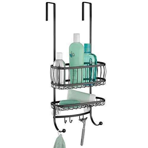 InterDesign York Bathroom Over the Door Shower Caddy with Storage Baskets Shelves and Hooks for Shampoo, Conditioner, Soap, 10