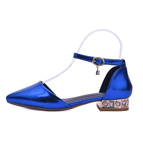 Amoonyfashion Kvinners Spenne Pu Pekte Tå Lave Hæler Solid Sandaler Mørkblå
