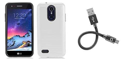 White Trims Wt 4 (Slim Brushed Metal Texture Armor Protective Rugged Case (White), [4 Inch] Heavy Duty Micro USB Cable and Atom Cloth for LG Aristo 2 Plus (T-Mobile))