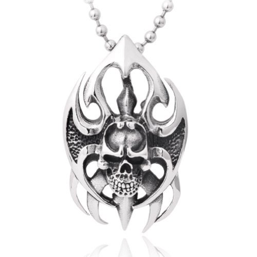 Skull And Wings (Moon Wings Vintage Fire Skull Punk Stainless Steel Pendant with Necklace)