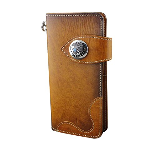 Handmade Genuine Leather Biker Hip Hop Mens Long Wallet w// Met Key Chain VF3