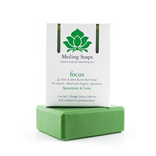 Focus – Organic Natural Soap Bar Spearmint & Lime Essential Oil Organic Shea Butter Soap w Vitamin E & Antioxidants - 6 Ounce Moisturizing Natural Soap Bar from Meiling Soaps