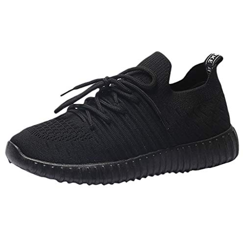Women Breathable Running Shoes Lace up Lightweight Athletic Knit Walking Shoes Mesh-Comfortable Work Out Shoes by Lowprofile Black
