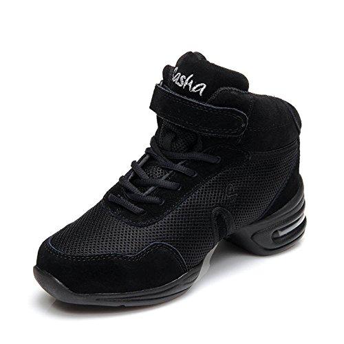 ZQ@QXEine weiche flache Unterseite mit großen Größe Größe Größe canvas Schuhe Tanz Square Dance Schuhe und Schuhe schwarz net 69610c