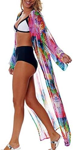 Wander Agio Womens Bikini Cover Ups Beach Casual Dress Coverup Swimsuits Long Cardigan Buttons Chiffon