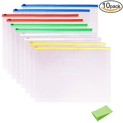 10 Pack Clear Plastic Poly Envelope Folder with Note Pads, Letter Size, 5 Color Zippers by (Poly Zipper)