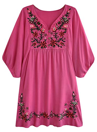 futurino Women's Bohemian Embroidery Floral Tunic Shift Blouse Flowy Mini Dress Hot Pink