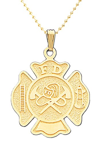 US Jewels And Gems 14k Yellow Gold Fire Department Badge Charm Pendant 2mm Bead Chain Necklace