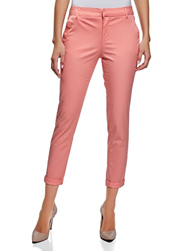 oodji Ultra Women's Cotton Chino Pants, Pink, (Pink Chino)