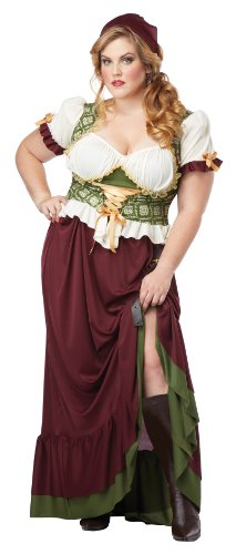 [California Costumes Women's Plus-Size Renaissance Wench Plus, Burgundy/Green, 1X] (Medieval Queen Plus Size Costumes)
