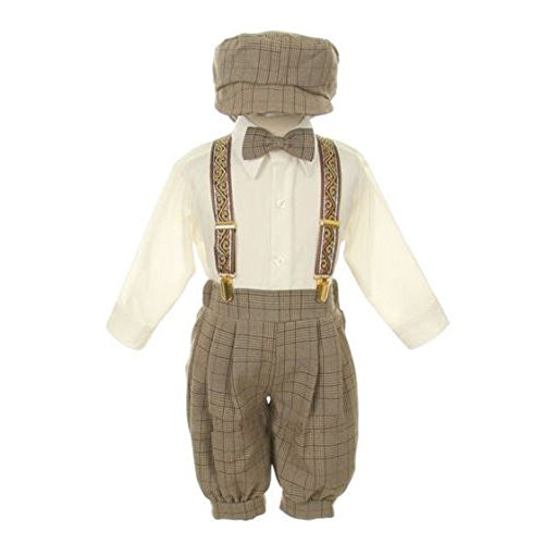 Knicker Capris - Rafael Baby Boys Brown Overall Pants Knickers Vintage Outfit Tuxedo Set 18M