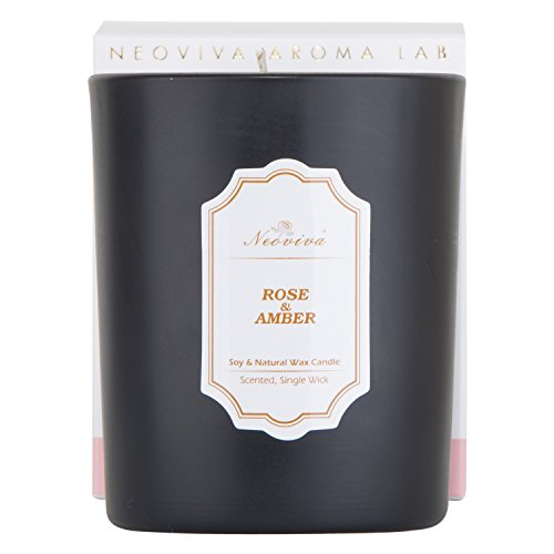 NEOVIVA HOME Aromatherapy Candles with Rose & Amber with 100% Natural Essential Oils Scented Candle Soy Wax for Stress Relief and Aromatherapy Quality Gift 5.6 Ounce (Black, Medium)