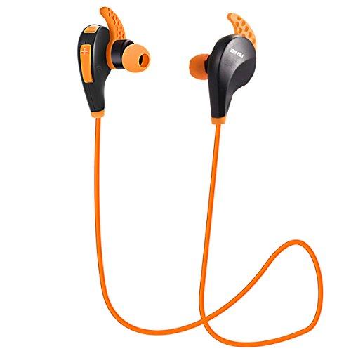 Orange Earphones Headphones (BIHAI Wireless Headset Bluetooth 4.1 Sport Running Stereo Headphones with Mic Noise Cancelling Earphone Earbuds for Smartphone, CRT Computer and Laptop-Orange)
