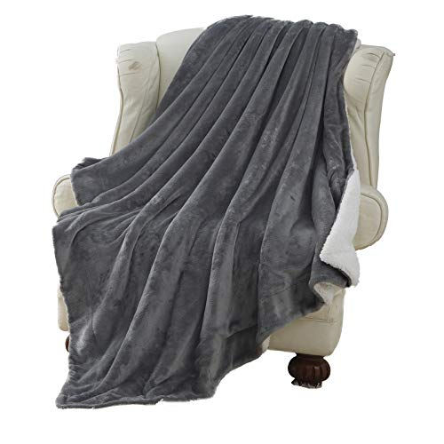 Cloud Fleece Twin Comforter - Moonen Sherpa Throw Blanket Luxurious Twin Size Brush Fabric Reversible All Season Super Soft Warm Fleece Thick Fuzzy Microplush Blanket for Bed Couch and Gift Blankets (Grey, 60x80 Inches)