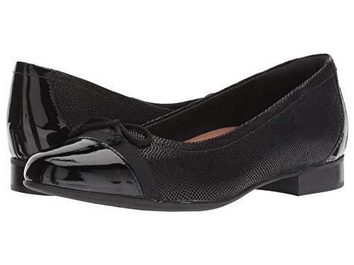 CLARKS Women's Un Blush Cap Black Nubuck/Patent Leather Combination 8.5 B US
