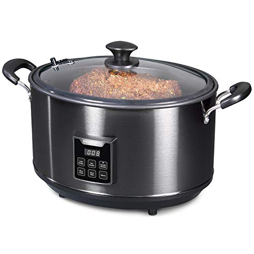 Presto 06013 Electric Slow Cooker Indoor Smoker, 6qt, Black Stainless Steel