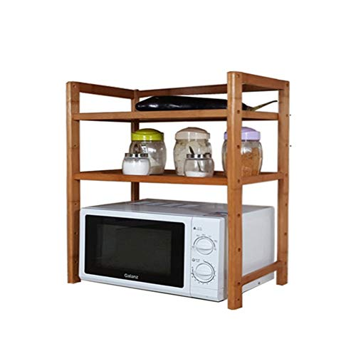 LNDDP Kitchen Wooden Microwave Shelf Oven Rack Floor Standing Multifunction Condiment Bottles Rice Cooker 3 Tiers (Size : 43cm)