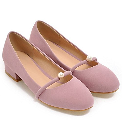TAOFFEN Women Comfort Solid Flat Ballet Shoes Shallow Mary Janes Pumps 66 Pink j2AeHcn