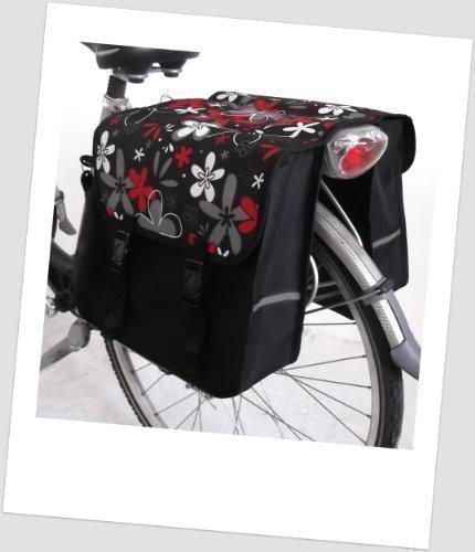 TJ-C-12 Fahrradtasche JENNY CLASSIC Flower red Satteltasche Gepäckträgertasche 2 x 14 Liter Schwarz