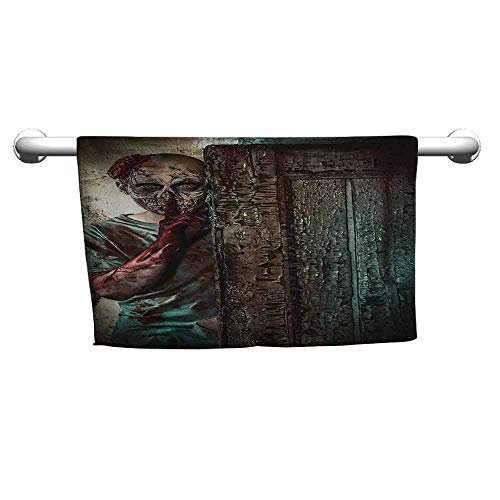zojihouse Zombie Quick Dry Beach Towel for Travel The Monster Behind The Door Looking with Evil Eyes Hell Nightmare Modern Print W14xL28 Umber Teal Tan