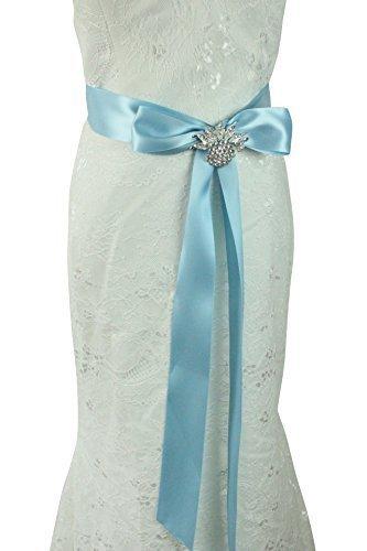 Lemandy - Cinta de cuentas hecha a mano con cristales elegantes para novia, cinturón de