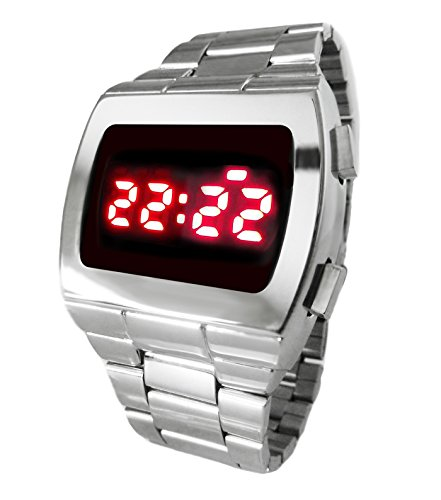 TX0 Red LED Watch Chrome Digital 70S Retro - Limited Edition - Collectors Classic - 1970s Retro