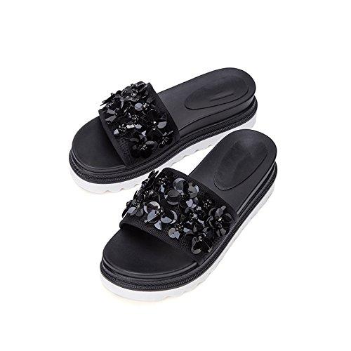 basso alti donna estivi Sandali tacco Sandali Pantofole basso Nero casual DHG tacco piatti alla da a Tacchi moda Sandali 39 con Ua5q5FwZ
