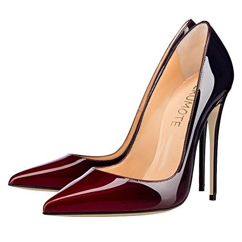 Kleid üblichen Spitzschuh Heel Frauen Partei High Wein MERUMOTE Lackleder Schwarz Stiletto Pumpen aWfYU8q5Tw