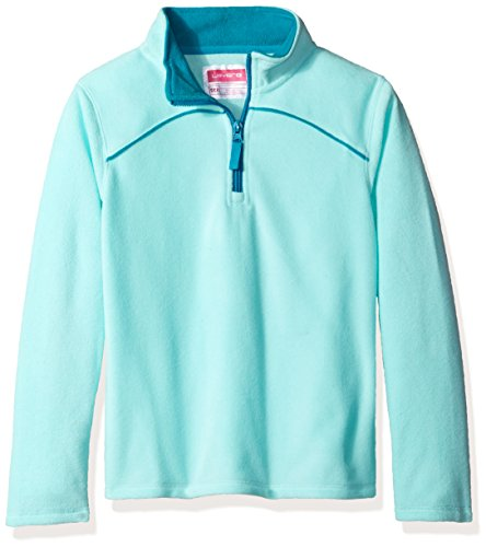 Layer 8 Girls Kids Little Girls' Solid Quarter Zip Fleece, Glacier/Bali Blue, X-Large - Girls Glacier Fleece Pant