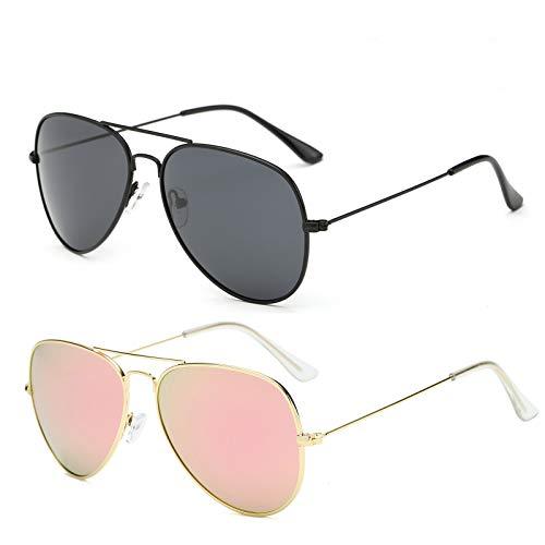 YOSHYA Sunglasses for Men Women Aviator Polarized Metal Mirror UV 400 Lens Protection (Black Grey + Cherry Pink) ()