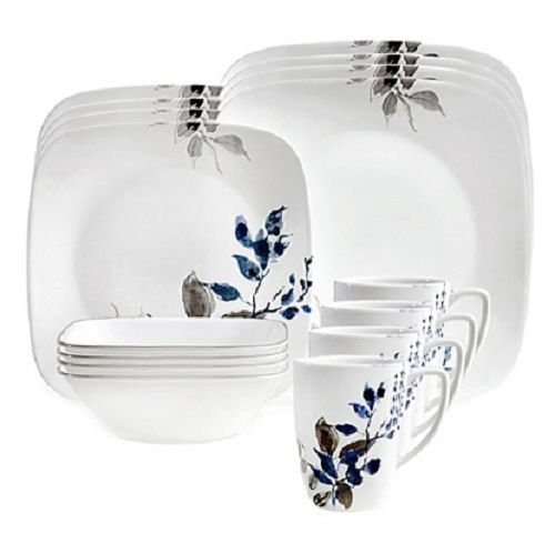 Boutique Kyoto Night 16-Piece Dinnerware Set in Blue and Gray Style By Corelle by Corelle Coordinates