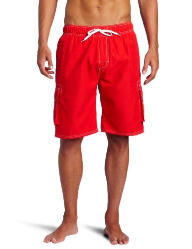 Kanu Surf Men's Barracuda Swim Trunks (Regular & Extended Sizes), Red, Large