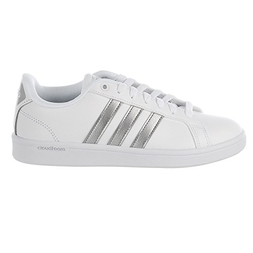 adidas Women's CF Advantage Sneaker, FTWR White, Silver Met, Core Black, 8.5 M US