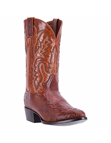 Dan Post Round Boots - Dan Post Men's Cognac Pugh Ostrich Leather Boot Round Toe Cognac 11 D