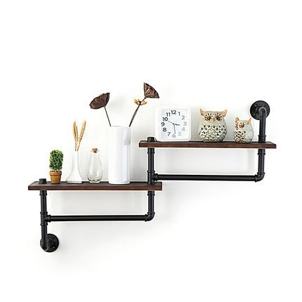 WGX Towel Racks for Bathroom,Rustic Kichen Modern Wood 2-Tiers Towel Rack with Shelf Wrought Iron Towel Bar